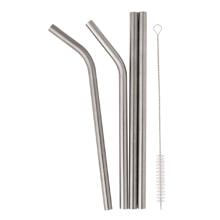 Living & Co Stainless Steel Straw Set - Smoothie, , hi-res