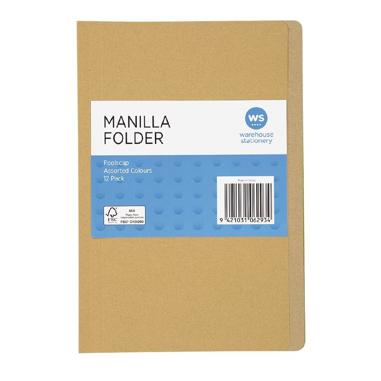 WS Manilla Folders Foolscap 12 Pack Assorted, , hi-res