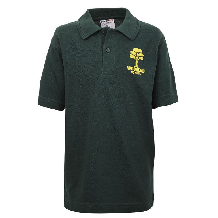 Schooltex Woodend Short Sleeve Polo with Transfer, Bottle Green, hi-res