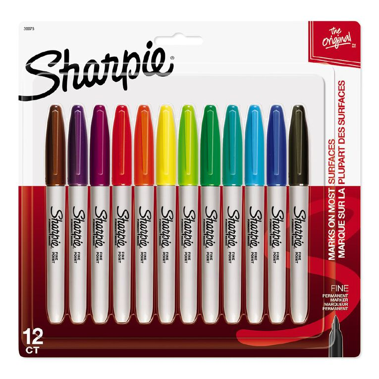 Sharpie Fine Point Permanent Marker Fashion 12 Pack Assorted, , hi-res