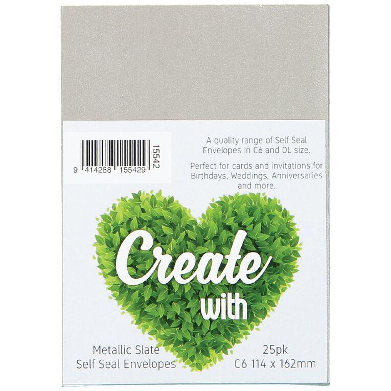 Create With C6 Envelopes 25 Pack Metallic Slate, , hi-res