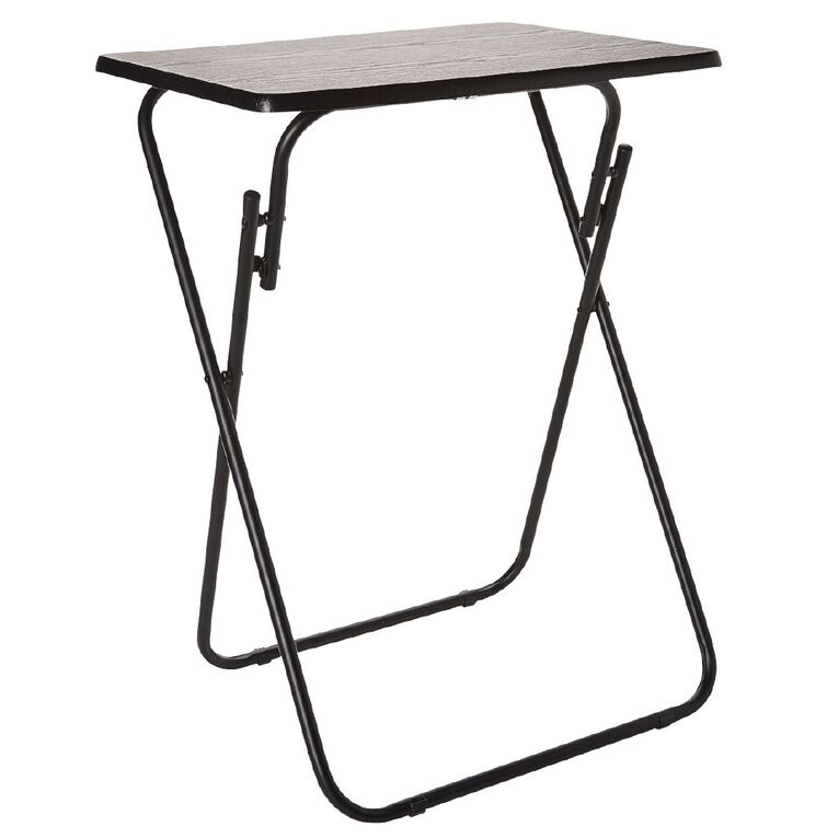 Living & Co Metal Folding Side Table Wood Look, , hi-res