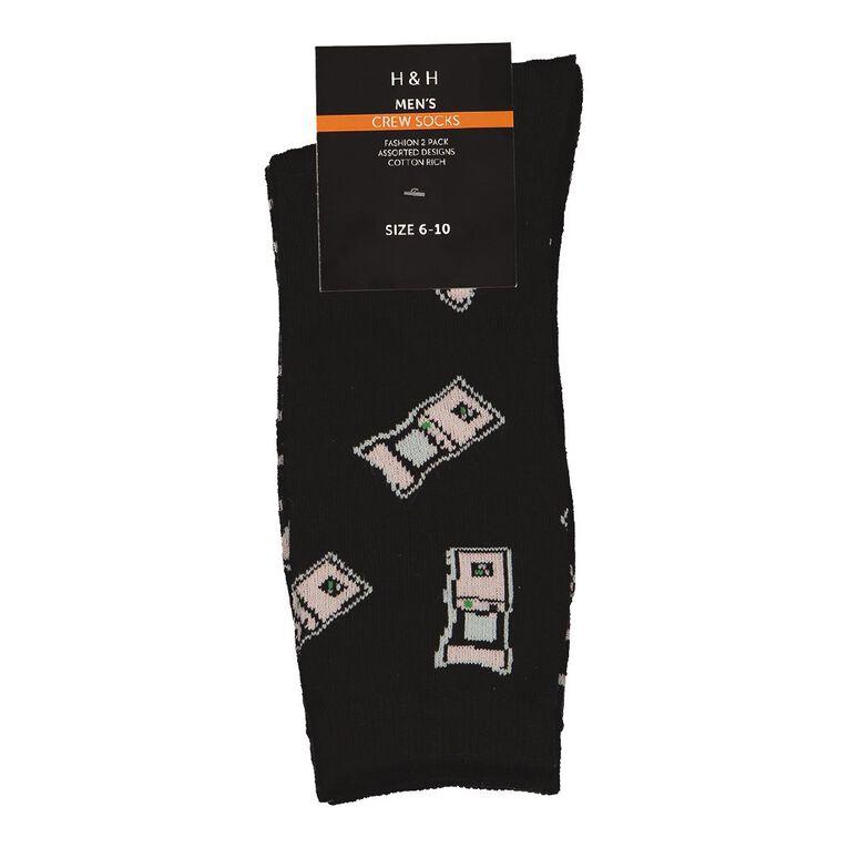 H&H Men's Crew Socks 2 Pack, Black/Pink, hi-res