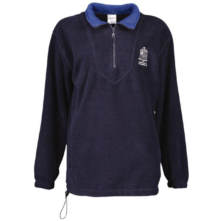 Schooltex Heretaunga Intermediate Polar Fleece Top with Embroidery, Navy/Royal, hi-res