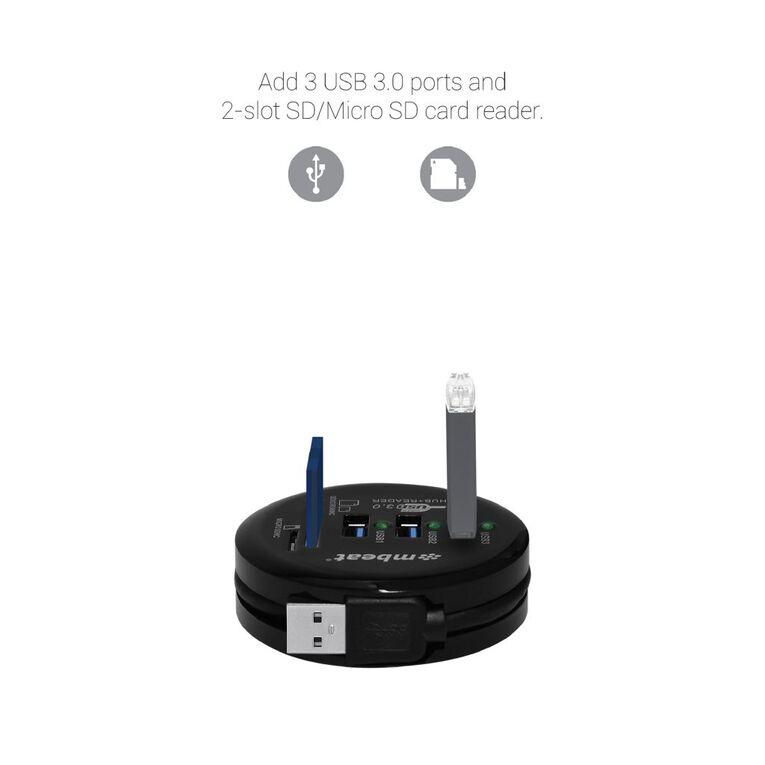 mbeat USB 3.0 3-Port Hub + Sd/Micro SD Card Reader Black, , hi-res