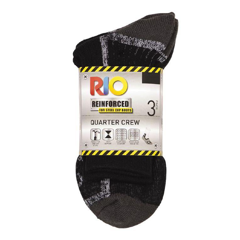 Rio Men's Quarter Crew Work Sock 3 Pack, Black/Grey, hi-res
