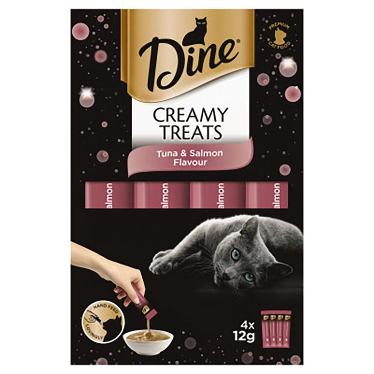 Dine Creamy Treats Cat Treats Tuna & Salmon Flavour 4 x 12g Sachets, , hi-res