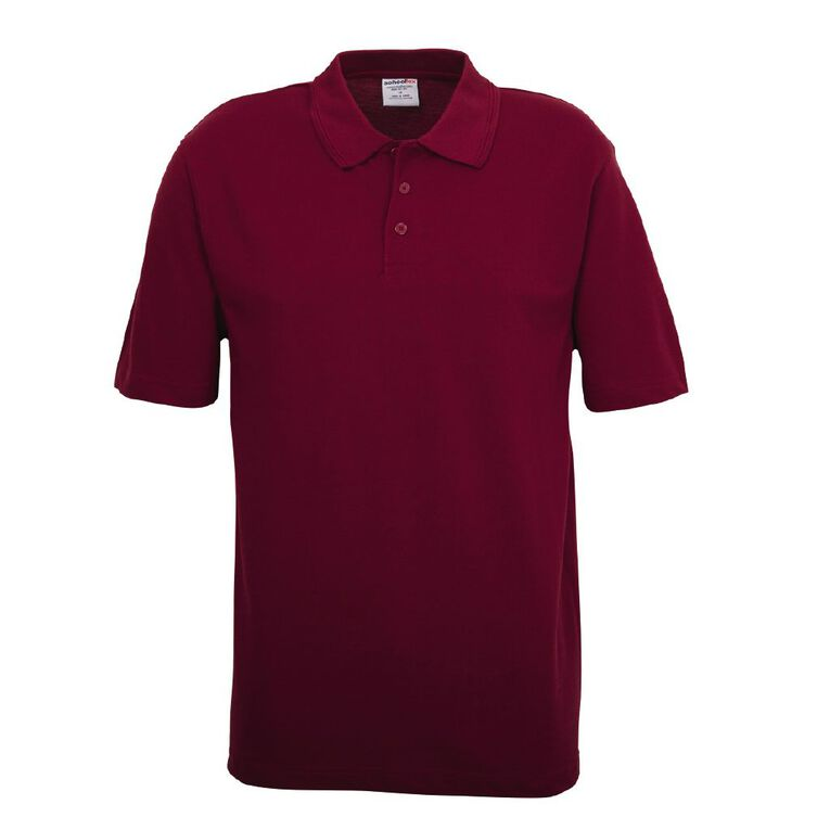 Schooltex Adults' Pique Polo, Burgundy, hi-res