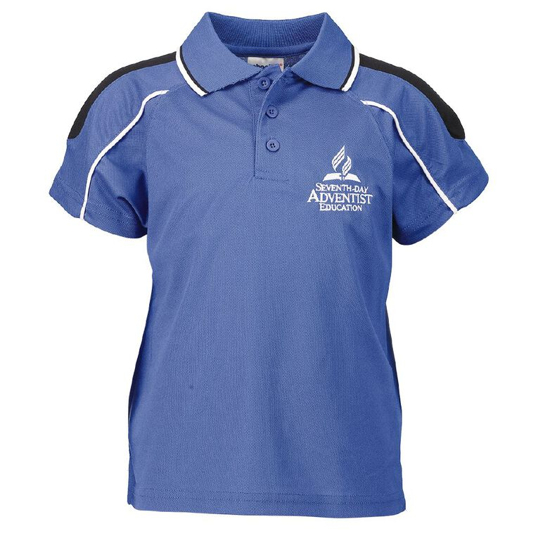 Schooltex SDA PE Polo with Embroidery, French Blue/Black/White, hi-res