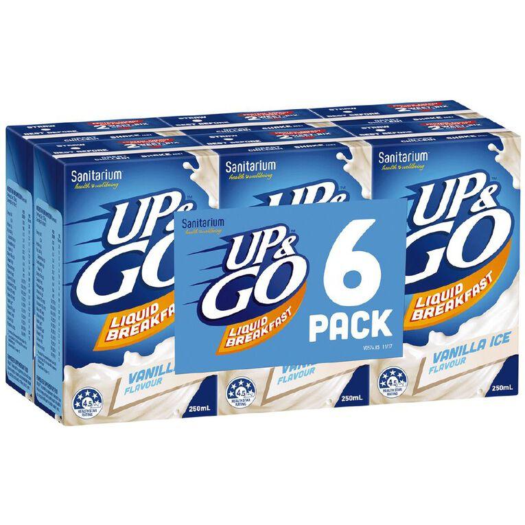 Up & Go Vanilla Ice 250ml 6 Pack, , hi-res