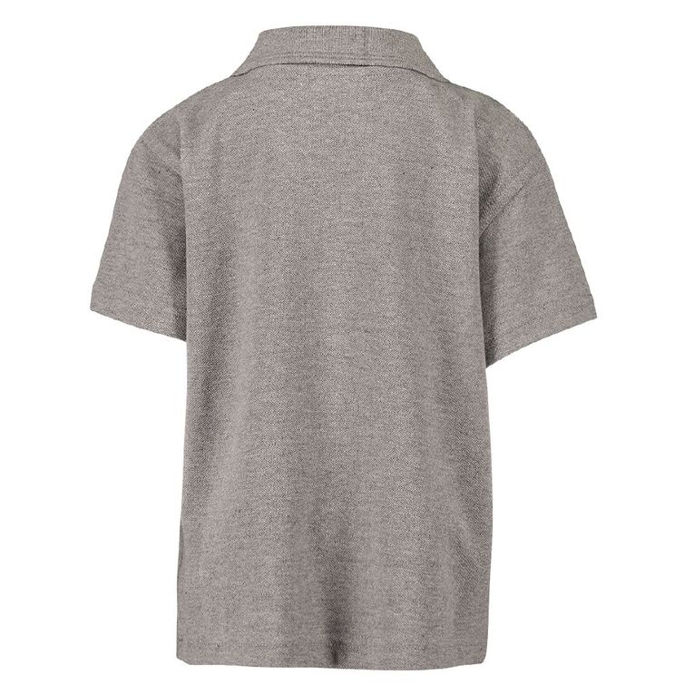Schooltex Wesley Primary Short Sleeve Polo with Embroidery, Grey Marle, hi-res