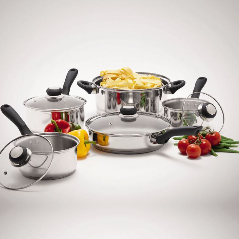 Living & Co Stainless Steel Cookware Set Silver 5 Pack, , hi-res