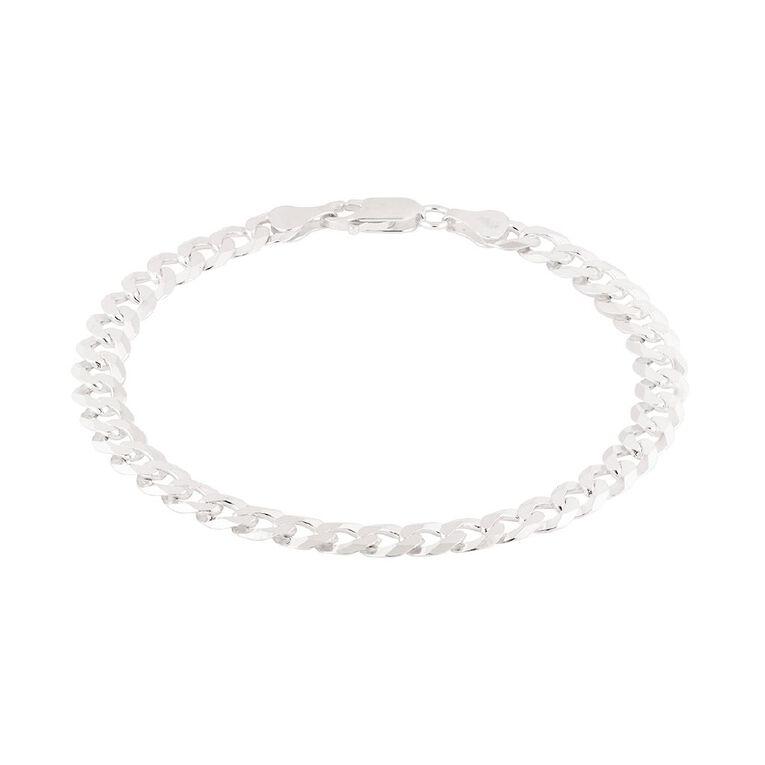 Sterling Silver Flat Curb Bracelet, , hi-res