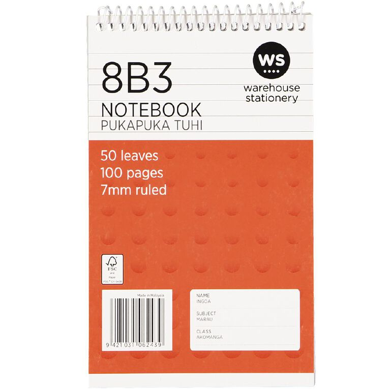 WS Exercise Book 8B3 7mm Ruled 50 Leaf Wiro Red, , hi-res