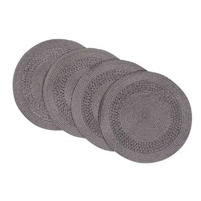 Living & Co Needle Out Woven Placemat Round Grey 4 Pack 33cm