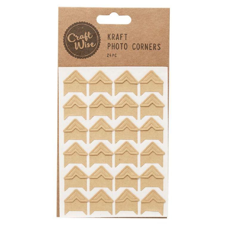 Uniti Kraft Photo Corners Brown 24 Pack, , hi-res