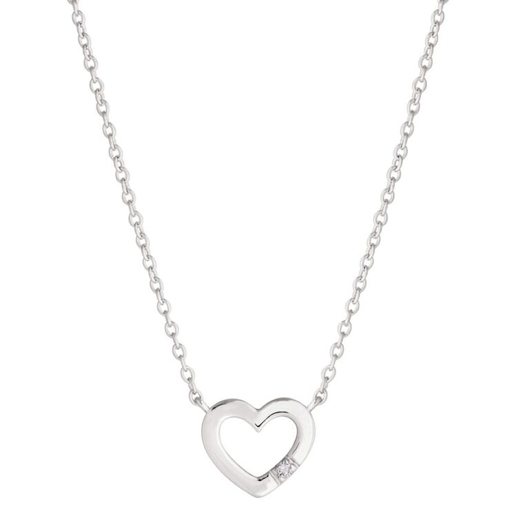0.01 Carat Diamond Sterling Silver Pave Heart Necklace, , hi-res