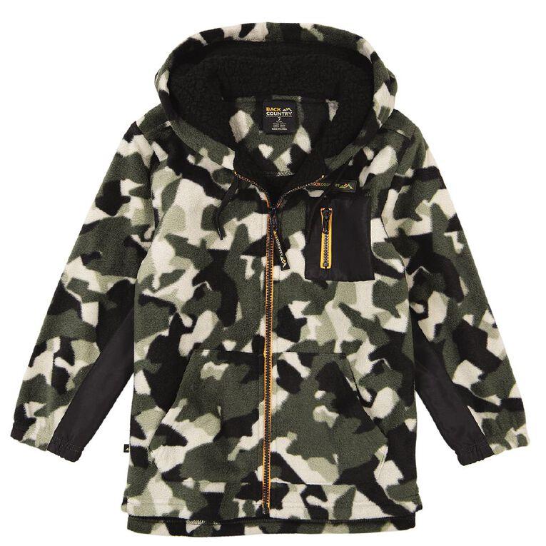Back Country All Over Print Sherpa Hood Sweatshirt, Khaki, hi-res