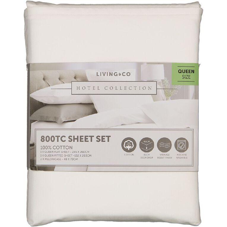 Living & Co Hotel Collection Sheet Set 800TC Cotton White Super King, White, hi-res