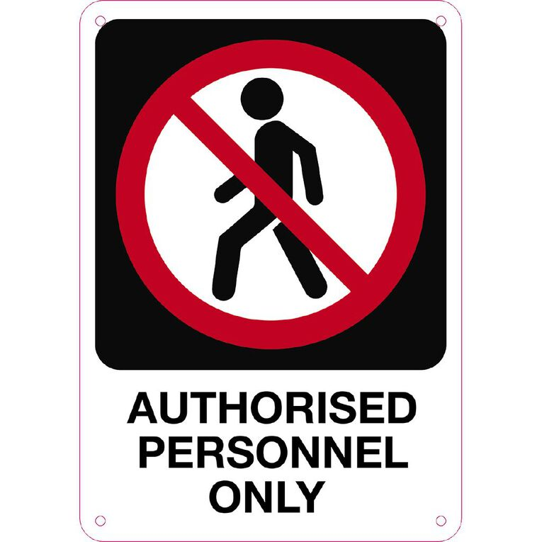 WS Authorised Personnel Only Sign Small 340mm x 240mm, , hi-res