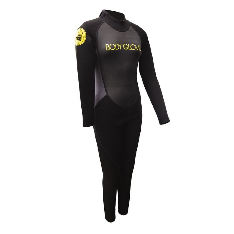 Body Glove Youths Full Suit Size 16 Black/Yellow Size 16, , hi-res