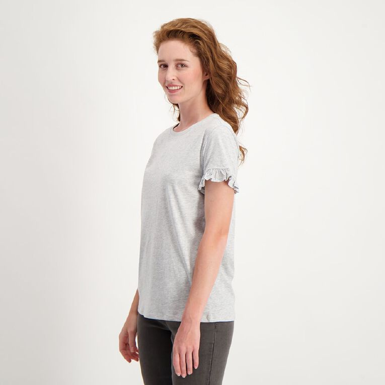 H&H Women's Frill Sleeve Tee, Grey Marle, hi-res image number null