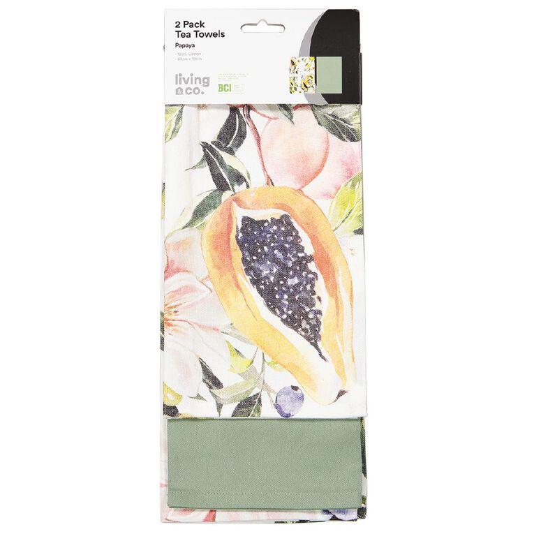 Living & Co Tea Towel Papaya 2 Pack 50cm x 70cm, , hi-res