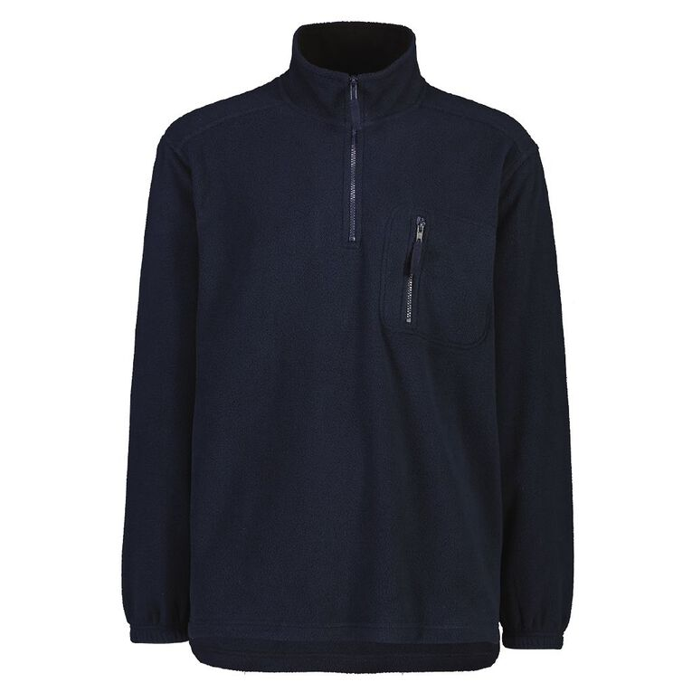 Rivet Men's 1/4 Zip Microfleece Sweatshirt, Navy, hi-res