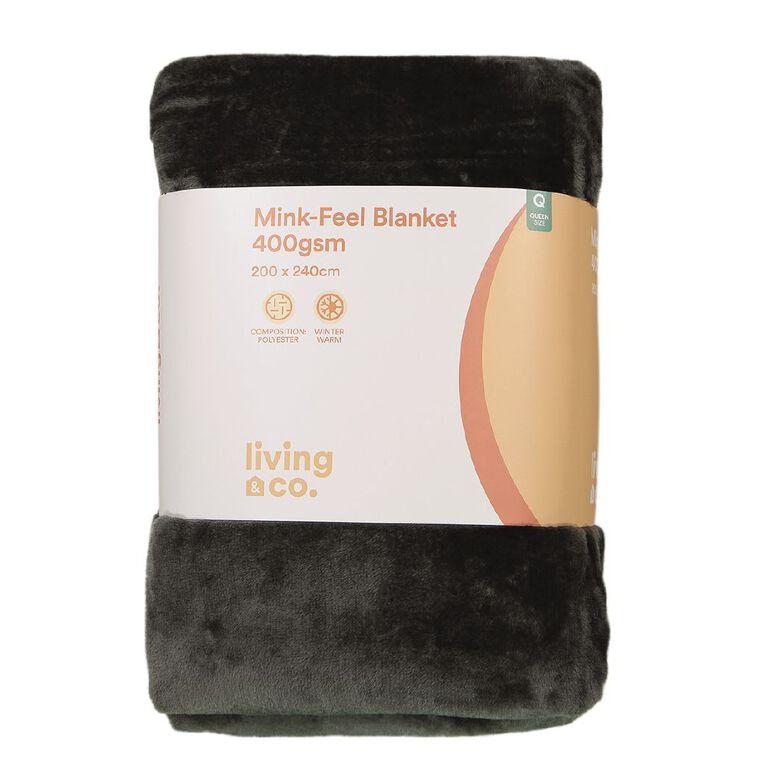Living & Co Blanket Mink Feel 400gsm Charcoal Queen, , hi-res
