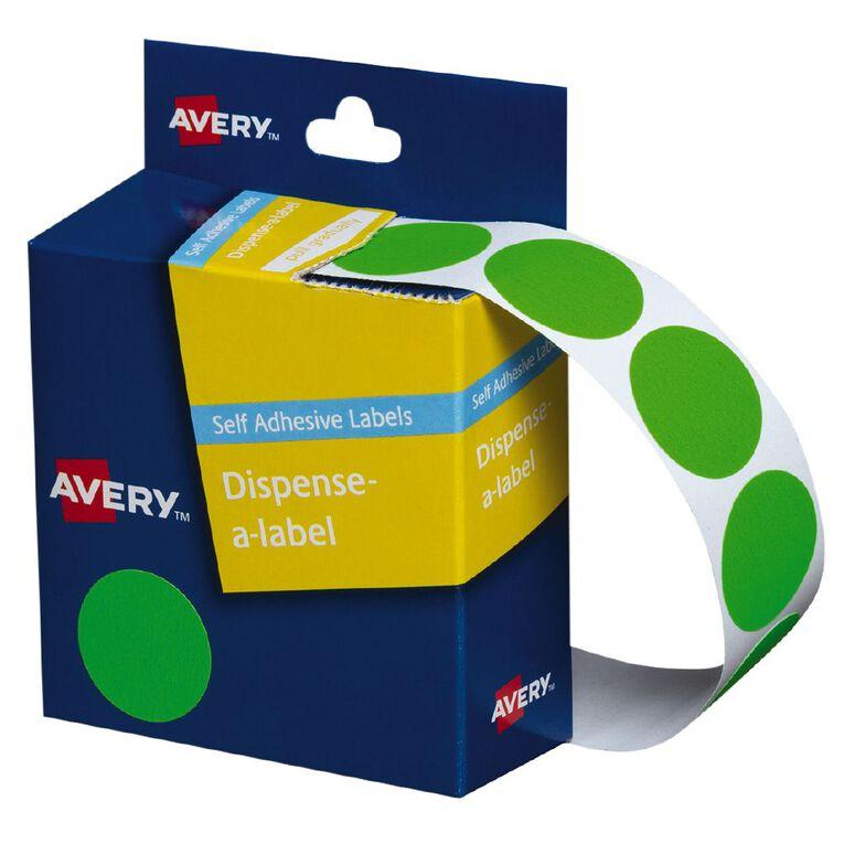 Avery Fluoro Green Dispenser Dot Stickers 24mm diameter 350 Labels, , hi-res
