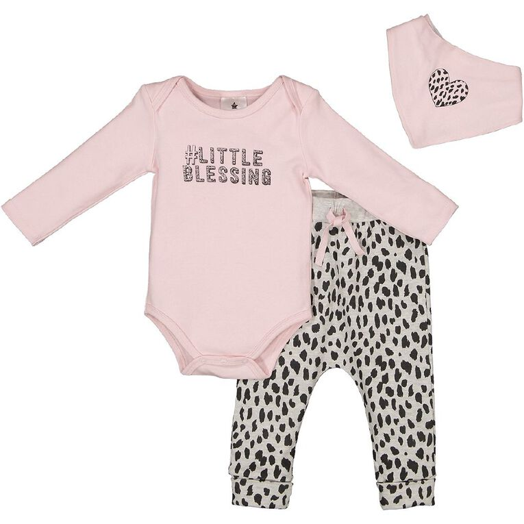 Young Original Baby 3 Piece Long Sleeve Set, Pink Light, hi-res image number null