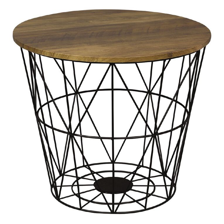 Living & Co Wire Side Table Wood Look Black, , hi-res