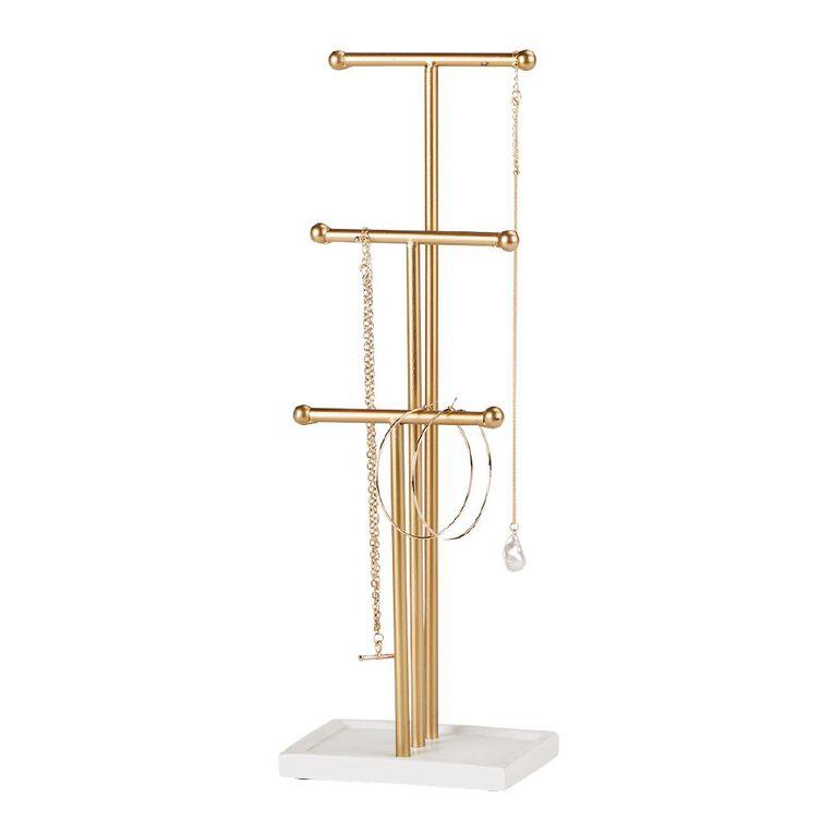Living & Co Jewellery Stand Gold 14cm x 10cm x 41cm, , hi-res