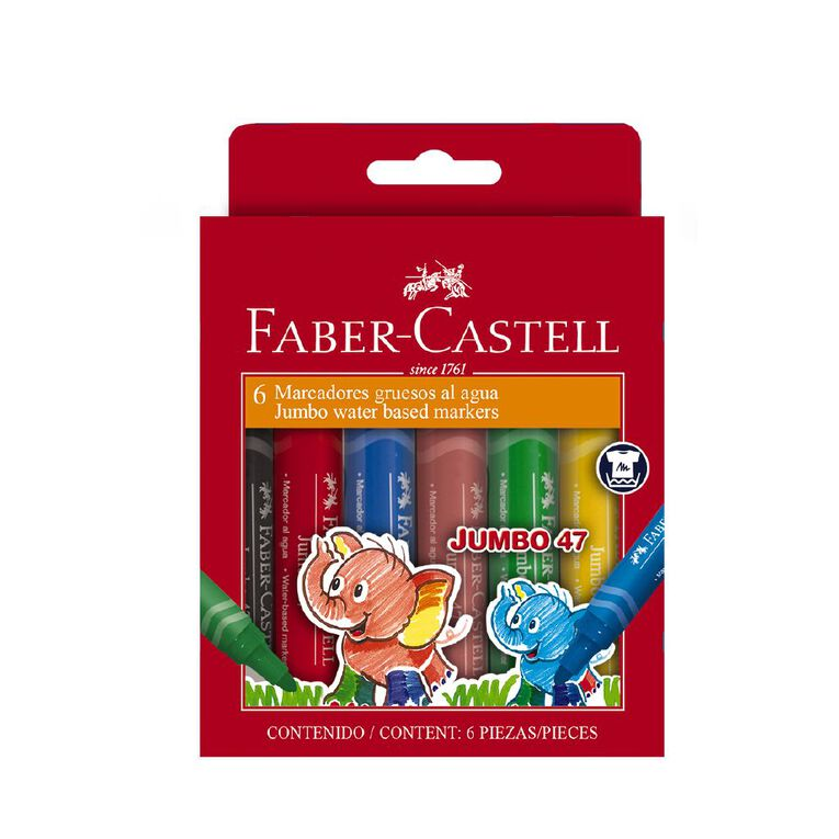 Faber-Castell Jumbo 47 Colour Marker Wallet of 6, , hi-res