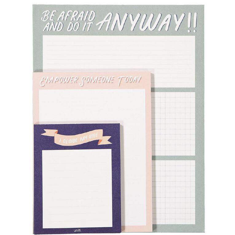 Uniti Empowerment Memo Notepad A4 A5 & A6 3 Pack, , hi-res