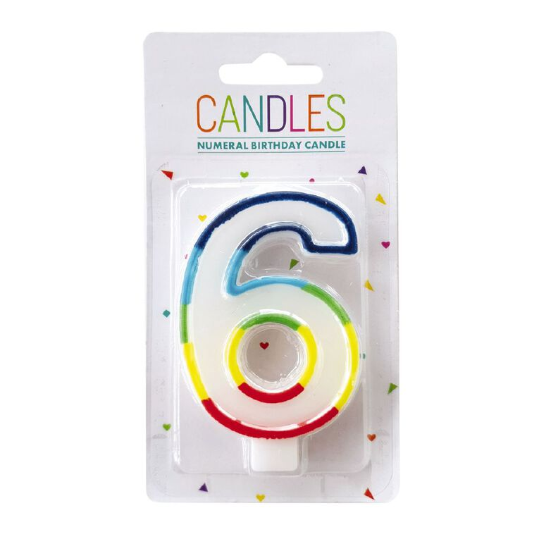 Numeral Candle 6 Rainbow Border 80mm x 10mm White, , hi-res