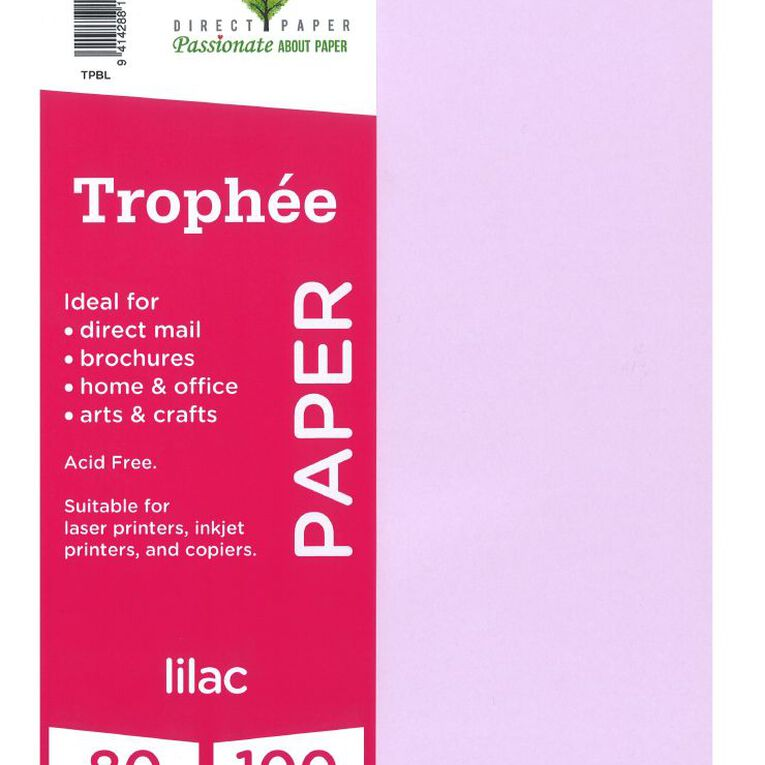 Trophee Paper 80gsm 100 Pack Lilac Purple A4, , hi-res image number null