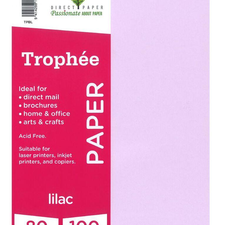 Trophee Paper 80gsm 100 Pack Lilac Purple A4, , hi-res