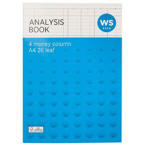WS Analysis Book Limp 4 Column Green A4