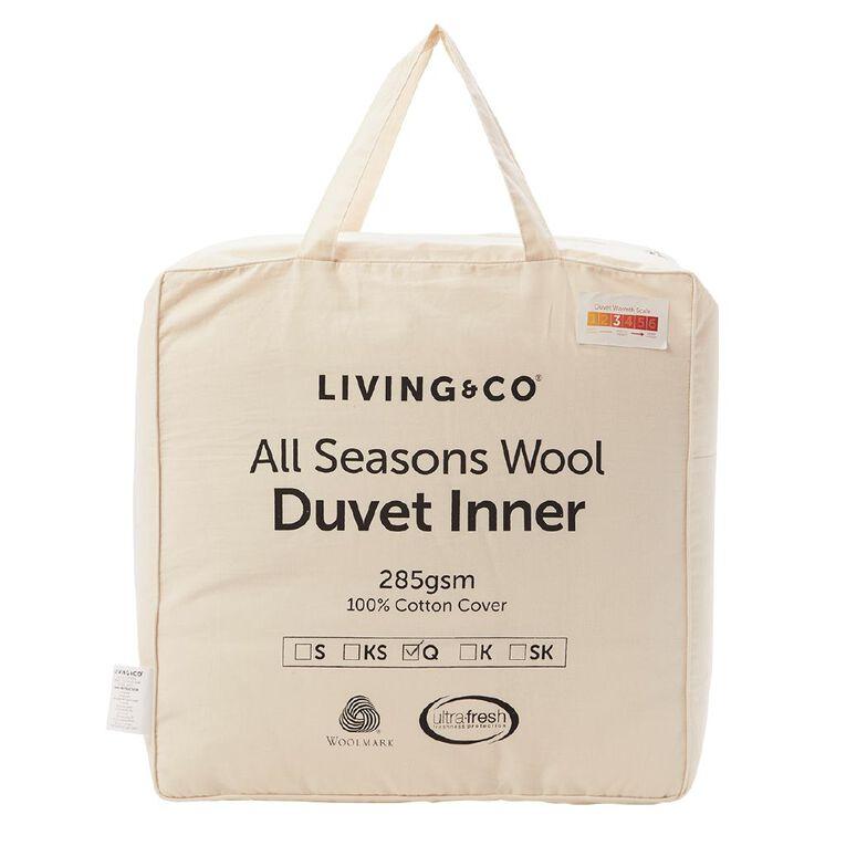 Living & Co Duvet Inner All Seasons Wool 285gsm White King Single, White, hi-res
