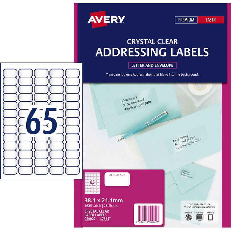 Avery Address Labels Crystal Clear 1625 Labels, , hi-res
