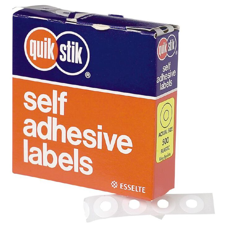 Quik Stik Labels Ring Eyelets 500 Pack White, , hi-res image number null