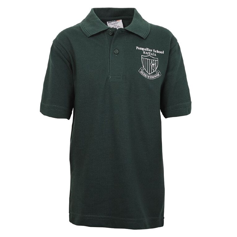 Schooltex Pompallier Short Sleeve Polo with Transfer, Bottle Green, hi-res