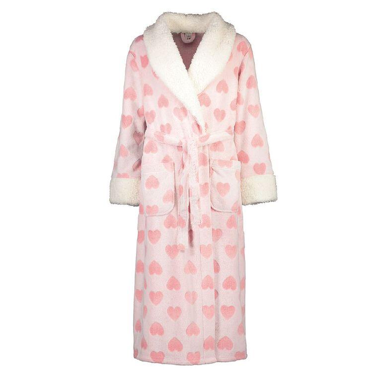 H&H Women's Coral Fleece Heart Robe, Pink, hi-res