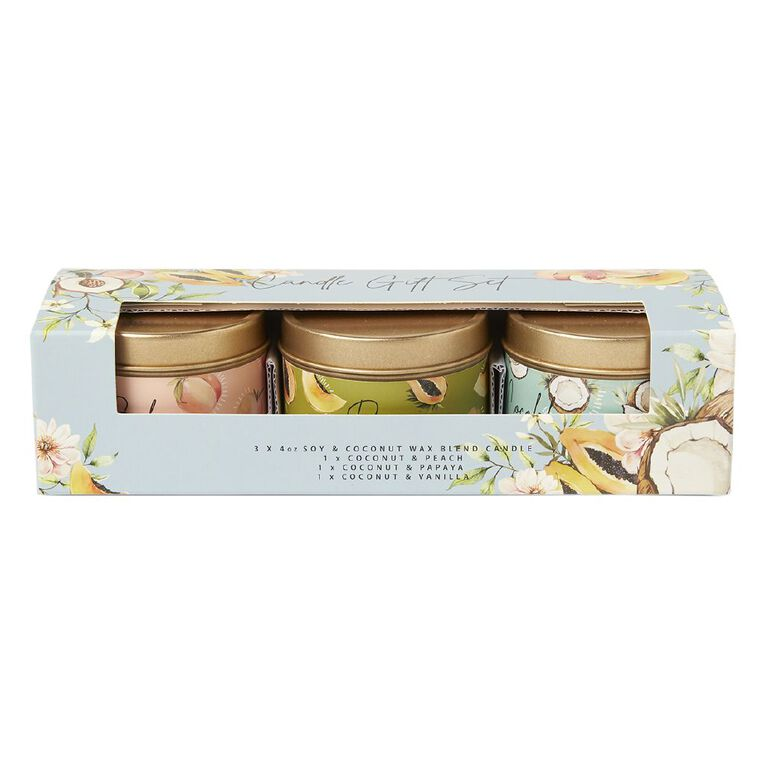 Living & Co Coco Blends Candles Set of 3 Multi-Coloured 4oz, , hi-res