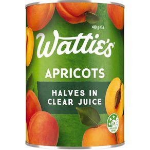 Wattie's Apricot Halves in Clear Juice 410g