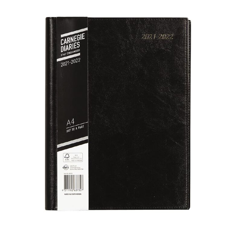 Dats Diary Mid Year 21-22 Day To Page Executive PU Black A4, , hi-res