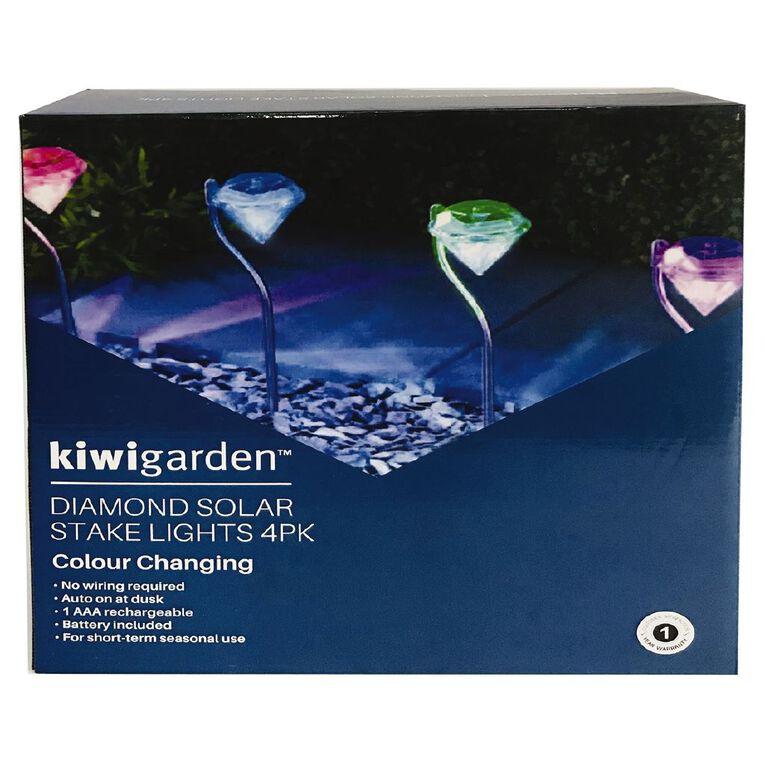 Kiwi Garden Garden Diamond Stake Solar Light Colour Changing 4 Pack, , hi-res