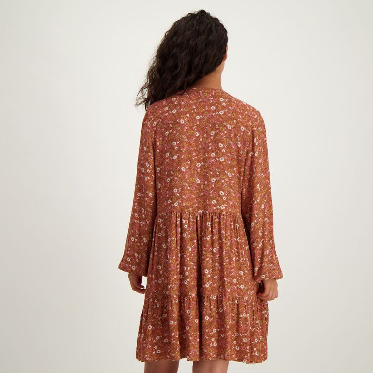 H&H Women's Printed Tier Dress, Red Dark, hi-res