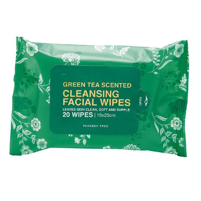 Cleansing Green Tea Face Wipes Assorted 20 Pack, , hi-res